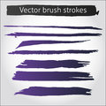 Set of vector straight ink pen strokes purple Royalty Free Stock Photo