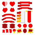 Set of vector stripes and ribbons. Collor red. Icons. Royalty Free Stock Photo