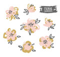 Set of vector stylish grunge pink and gold flowers. Royalty Free Stock Photo