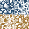 Set of vector summer seamless patterns with sea shells. Royalty Free Stock Photo