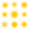 Set of vector sun icons. Vector isolated. Royalty Free Stock Photo