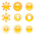 Set of vector suns emoji collection isolated objects on white background Royalty Free Stock Photos