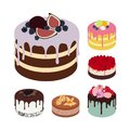 Set of Vector Tasty Cakes Isolated on White Background. Illustrations for Confectionery, Cafe and Greeting Cards.