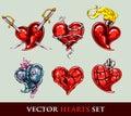 Sada skladajúca sa z vektor tetovanie štylizovaný srdce