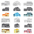 Set of vector thin line icon suburban american houses. For web Royalty Free Stock Photo