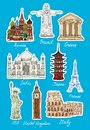 Set of vector travel landmarks icons st basils cathedral moscow colsseum rome eiffel tower paris japan taj mahal india statue Stock Photography