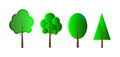 Set of vector trees isolation over white background Stock Images