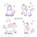 Set of vector unicorns in different poses