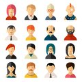 Set of vector user interface avatar icons sixteen different colorful with diverse men and women old and young hairstyles and Royalty Free Stock Image
