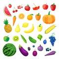 Set of Vector vegetarian organic healthy food cuisine. organic natural realistic vegetable and fruits.