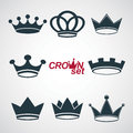 Set of vector vintage crowns, luxury ornate coronet illustration. Royalty Free Stock Photo