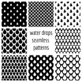 Set of vector water drops seamless patterns in black and white Royalty Free Stock Photo