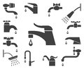 Set of vector water tap or faucet icons Royalty Free Stock Photo