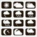 Set vector weather icons. The sun, cloud, moon, rain and snow. S Royalty Free Stock Photo