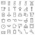 Set of vector web icons line food cooking