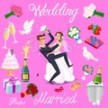 Set vector wedding just married couple with hearts avatars characters. roses flowers champagne cake newlyweds pigeons gifts rings
