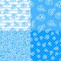 Set Vector Winter seamless pattern. Flower roses hand drawing white illustration isolated on blue background. Royalty Free Stock Photo