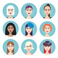 Set of vector women characters Royalty Free Stock Photo