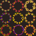 Set of vector wreaths with autumn leaves berries and acorns vect Royalty Free Stock Photo