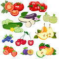 Set of vegetables and fruits