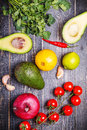 Set of vegetables for sauce guacamole Royalty Free Stock Photo