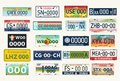 Automobile or car vehicle registration plates