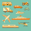 Set of vehicles vector illustration collection transportation facilities Stock Photos