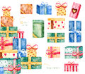 Set with 11 versatile gift boxes Royalty Free Stock Photo
