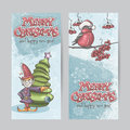 Set of vertical banners for christmas and the new year with a pi picture an elf bullfinch on branch Royalty Free Stock Image