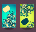 Set vertical banners  down load with doodle monsters Royalty Free Stock Photo