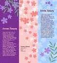 Set of vertical banners with flowers and place for your text. Vector Royalty Free Stock Photo