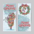 Set of vertical banners with the image of christmas gifts garlands of lights and christmas wreaths with toys Stock Image