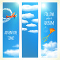 Set of Vertical Banners with Skies. Royalty Free Stock Photo