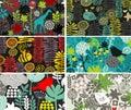 Set vertical karty z ptakami i zwierzętami Obrazy Stock