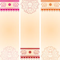 Set Of Vertical Lotus And Elep...