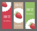 Set of vertical narrow banners with strawberries Royalty Free Stock Photo