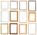 Set of vertical picture frames with cutout canvas isolated on white background Stock Images