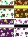 Set of vertical retro banners with large flowers Stock Image