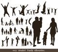 Set of very detailed family silhouettes jumping and walking concept Royalty Free Stock Image