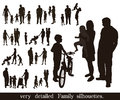Set of very detailed family silhouettes people for your concept Royalty Free Stock Image