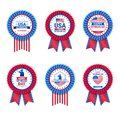Set Of Veteran Day Medals  On White Background, Holiday Badges Collection In Usa Flag Colors Royalty Free Stock Photo
