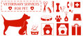 Set veterinary services objects icon with pet and Royalty Free Stock Images