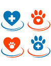 Set of veterinary symbols heart cross and paw with red on white background Stock Photos