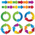 Set of vibrant circle diagrams and chart arrows this image is an illustration Stock Photo