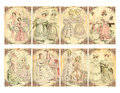 Set of victorian era women s fashion plate cards card illustrations with floral borders good for gift tags Royalty Free Stock Image