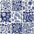 Set of Victorian seamless patterns.