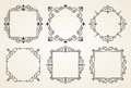 Set of Victorian Vintage Decorations Elements and Frames. Flourishes Calligraphic Ornaments and Frames. Retro Frame