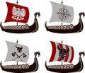 Set of viking drakkars stencils vector illustration Royalty Free Stock Photos