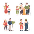Set of village people. Different young, adult, old farmers and kids together. Happy grandparents, man and woman with
