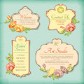 Set of vintage antique styled labels with flowers vector decorative border retro floral design in art deco style collection Stock Images